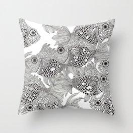 Fish School I Throw Pillow