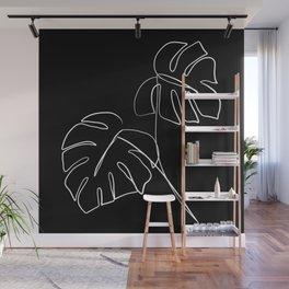 Monstera minimal - black Wall Mural