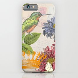 Dahlia Flowers with a Bird and a Crown iPhone Case