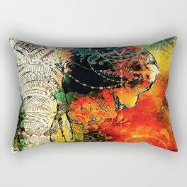 Asian Mandala Elephant Blue Orange Yellow Green Rectangular Pillow