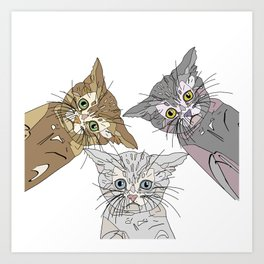 Triple Kitties - Three's Company Art Print