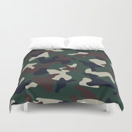 Green Brown woodland camo camouflage pattern Duvet Cover