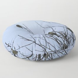 Winter Birds on Bare Branches Floor Pillow