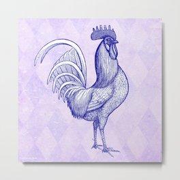 Vintage Rooster Design- Metal Print