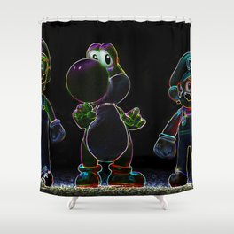 Luigi, Yoschi and Mario Shower Curtain