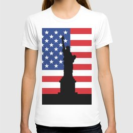 United states of America flag and Statue of Liberty in New York T-shirt