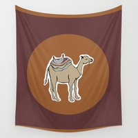 camel Wall Tapestries featuring camel by johanna strahl