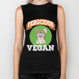 "Vegie-Eater Cutie Rabbit for every ""Ferocious Vegan"" out there! Grab this awesome cute tee now! Biker Tank"