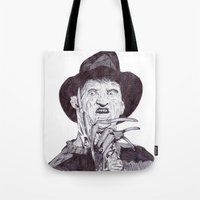 freddy krueger Tote Bags featuring krueger by DeMoose_Art