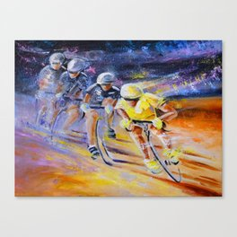 Defying Time In A Yellow Jersey Canvas Print