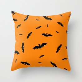 Flying black bats on an orange background in Halloween style Throw Pillow