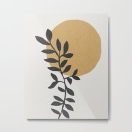 Plant and sun mid century art Metal Print