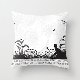 Secret Garden Black and White Illustrated Quote Throw Pillow
