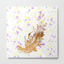 Golden feather with music notes Metal Print