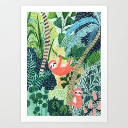 Jungle Sloth Family Art Print
