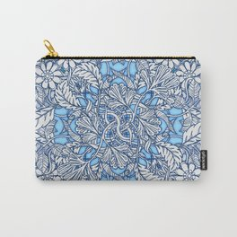 Nature Tangle - vintage botanical pattern in blue, teal & aqua Carry-All Pouch