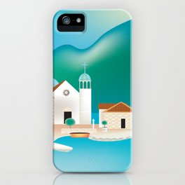 Kotor Bay, Montenegro - Skyline Illustration by Loose Petals iPhone Case