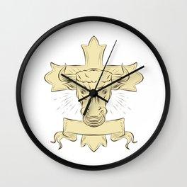 Taurus Bull Christian Cross Drawing Wall Clock