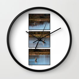 Gone Fishing Triptych White Wall Clock