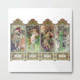 """Alfons Mucha, """" Four seasons 1896 """" Metal Print"""
