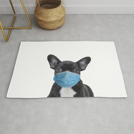 French Bulldog with Mouth Nose Mask - Frenchie Rug