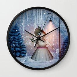 Funny snow women with bird Wall Clock
