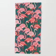 flamingo tropical Beach Towel