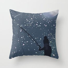 Fishing under the Moon Throw Pillow