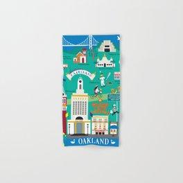 Oakland, California - Collage Illustration by Loose Petals Hand & Bath Towel