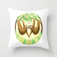sloths Throw Pillows featuring Sloths in Love by Kirsten Sevig