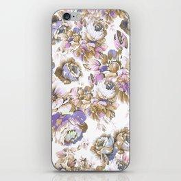 Bohemian vintage rustic brown lavender floral iPhone Skin