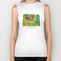 jungle Biker Tanks featuring Jungle by Milanesa