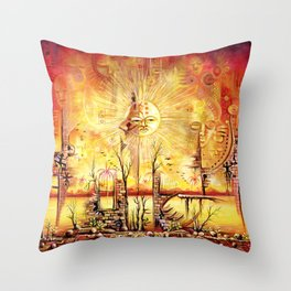 Sun Shine in my Mind surreal African Painting Throw Pillow