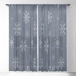 Artistic snowflakes pattern Sheer Curtain