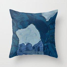 Blue Rock Bridge Throw Pillow
