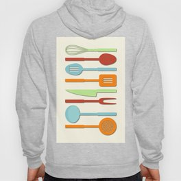 Kitchen Utensil Colored Silhouettes on Cream II Hoody