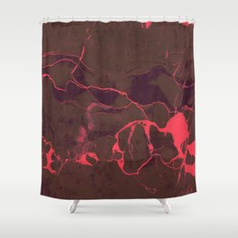 Grey Marble and Coral Shower Curtain