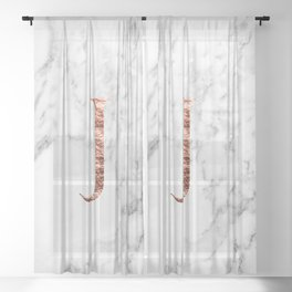 Monogram rose gold marble J Sheer Curtain