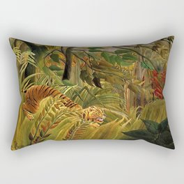 Tiger in a Tropical Storm - Surprised! by Henri Rousseau Rectangular Pillow