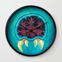 metroid Wall Clocks featuring Metroid by Katie Clark Art