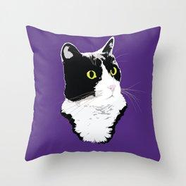 Regal Tuxedo Kitty Throw Pillow