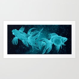 Goldfishes at night Art Print