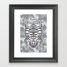 TIBETAN TIGER WHITE (white) Framed Art Print