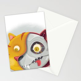 Cyborg cat Stationery Cards