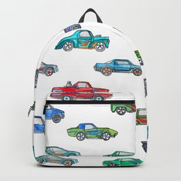 Little Toy Cars in Watercolor on White Backpack