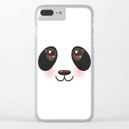Kawaii funny panda white muzzle with pink cheeks and big black eyes  on white background Clear iPhone Case
