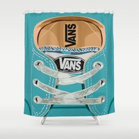 vans Shower Curtains featuring Cute blue teal Vans all star baby shoes iPhone 4 4s 5 5s 5c, ipod, ipad, pillow case and tshirt by Three Second