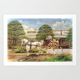The Butchers Delivery Cart Art Print