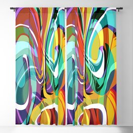 Colorful Abstract Whirly Swirls - V2 Blackout Curtain