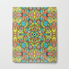 Odd funny creatures multiplying in a symmetrical pattern design Metal Print